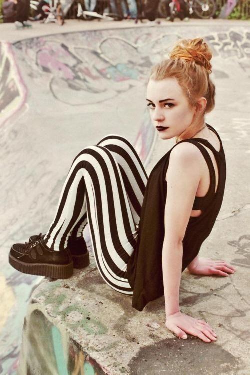striped leggings black goth redhead ginger auburn red hair girl pretty style stylish fashion grunge creepers pale