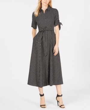 latest design volume large catch Calvin Klein Polka Dot Belted Maxi Shirtdress, Regular ...