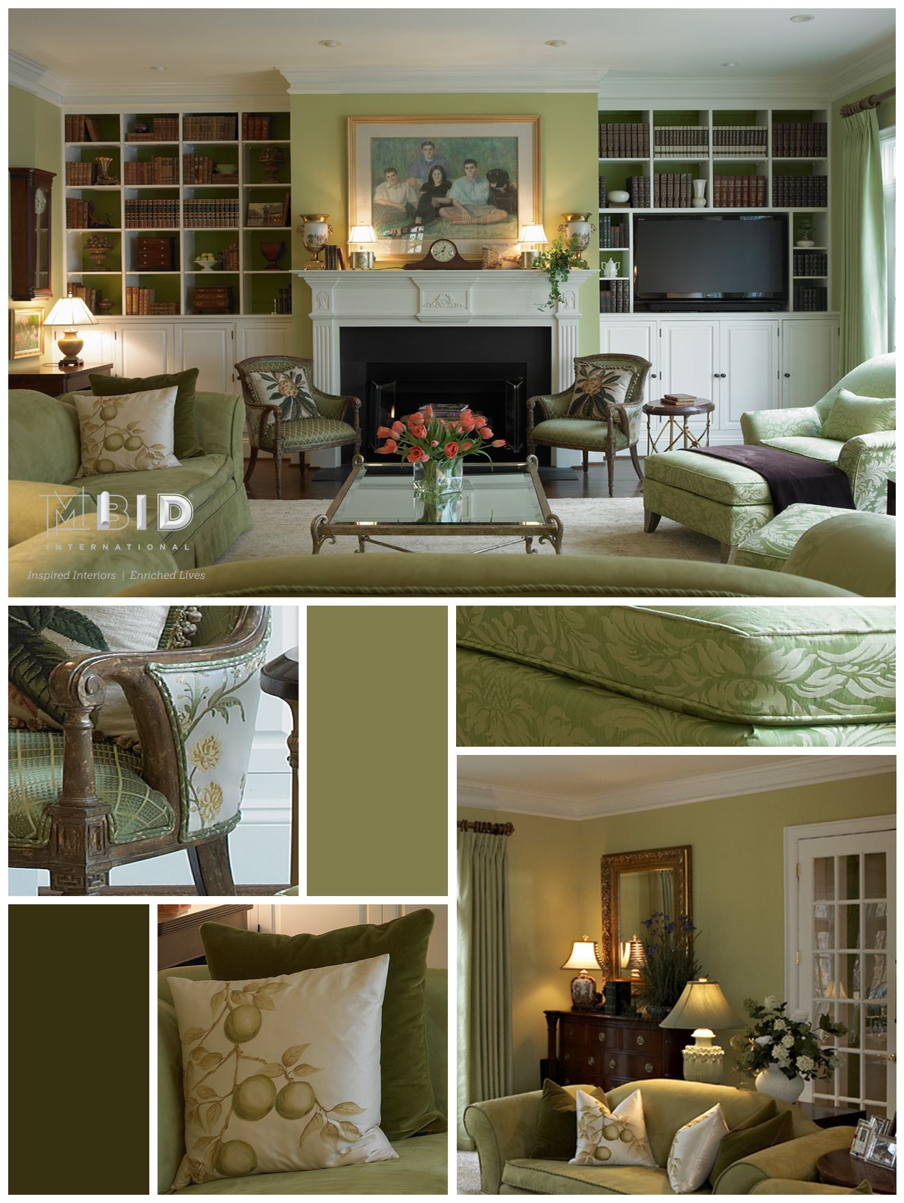 Monochromatic Green Living Room Interior Design Greensboro North Carolina  Cary Raleigh Durham Chapel Hill Interior Design