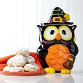 David's Cookies Halloween Owl Jar with Dark Chocolate Chip Cashew Meltaways