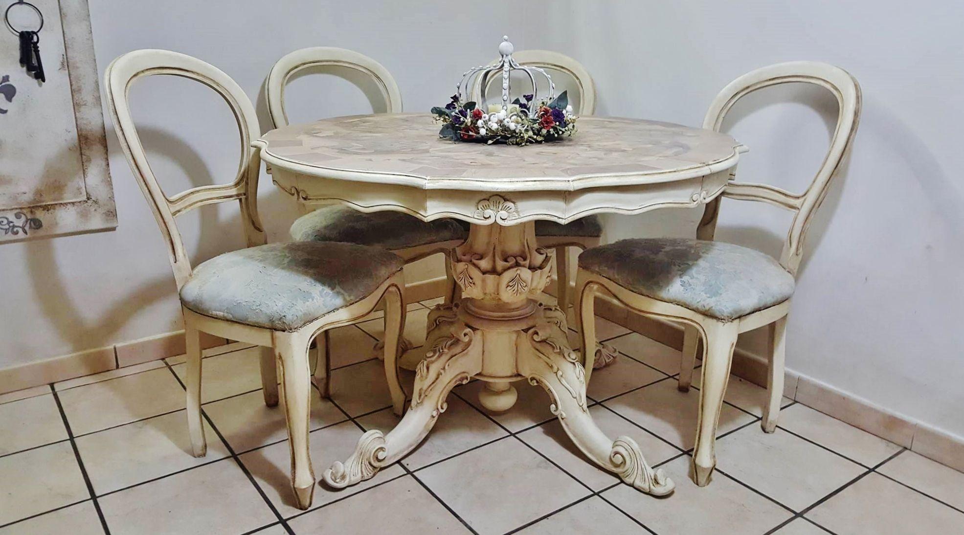Tavolo Da Pranzo Shabby : Tavolo da pranzo shabby chic tavolo bianco decapato stile shabby