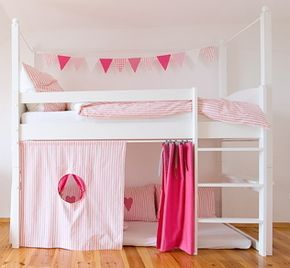 4 Hochbettvorhänge pink, rosa, weiß (mit Bildern