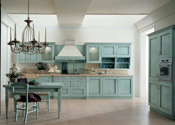 Kitchen Teal Base And Upper Cabinets Cream Ceramic Tiles Dining Furniture Classic Pendant