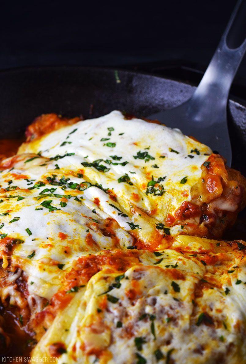One Skillet Chicken Parmesan Recipe Cast Iron Skillet Pinterest
