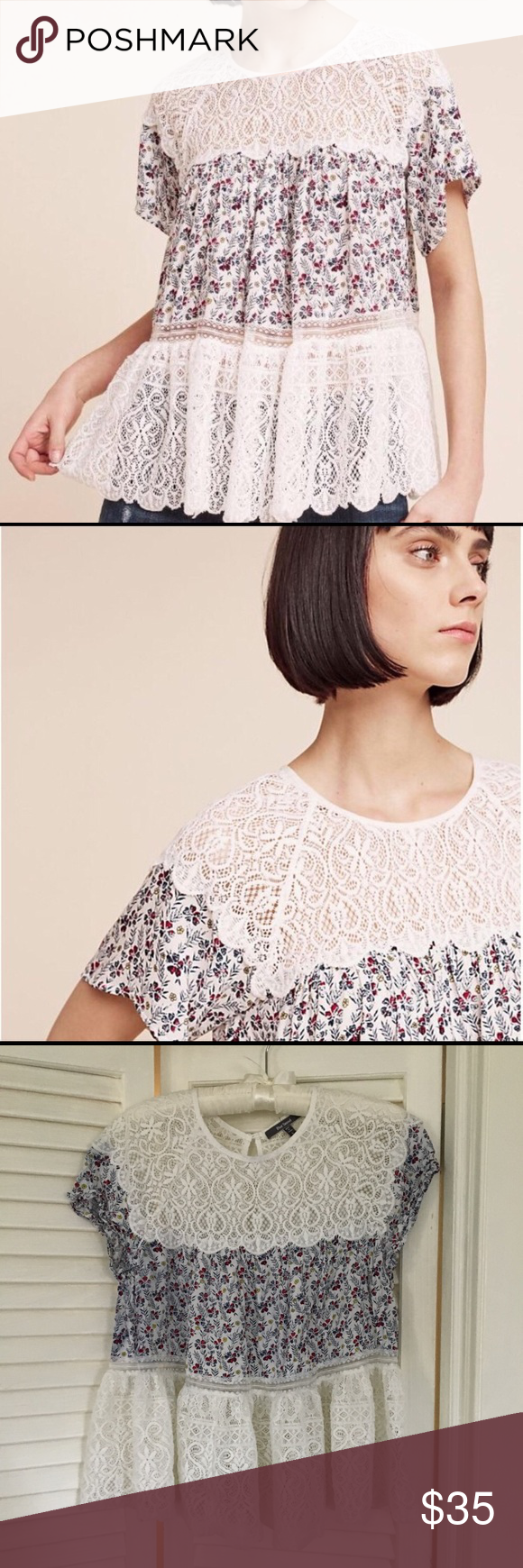 Anthropologie Blue Tassel Floral And Lace Top Flowy Floral Print And Lace Top Loose Peplum At Waist Generously Sized A Clothes Design Lace Top Fashion Design