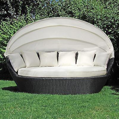 XXL Poly Rattan Sonneninsel Sonnenliege Strandkorb Garten Lounge ...