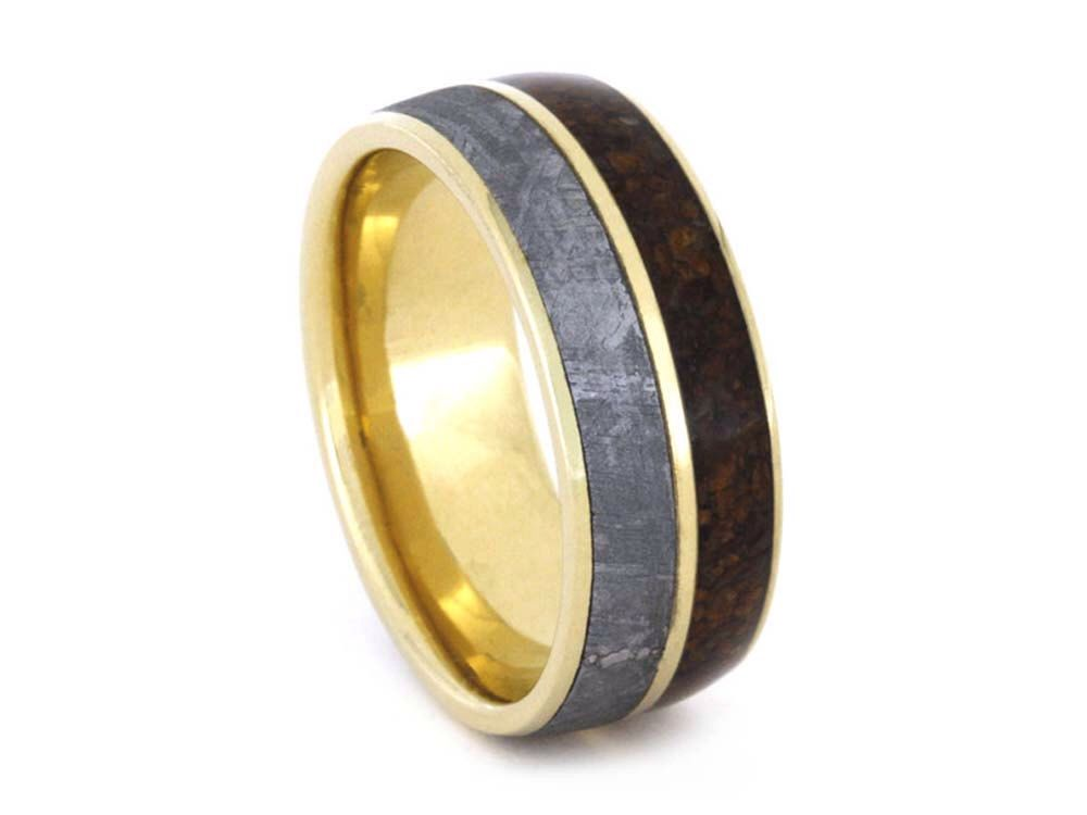 dinosaur wedding wood meteorite bone by rings mens simply