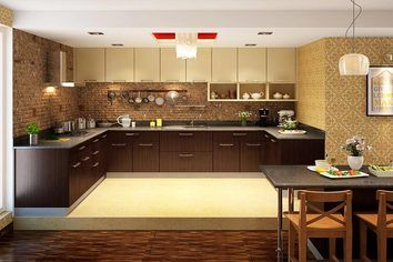 Alleppy U Shaped Modular Kitchen Ebony U0026 Arizona Walnut