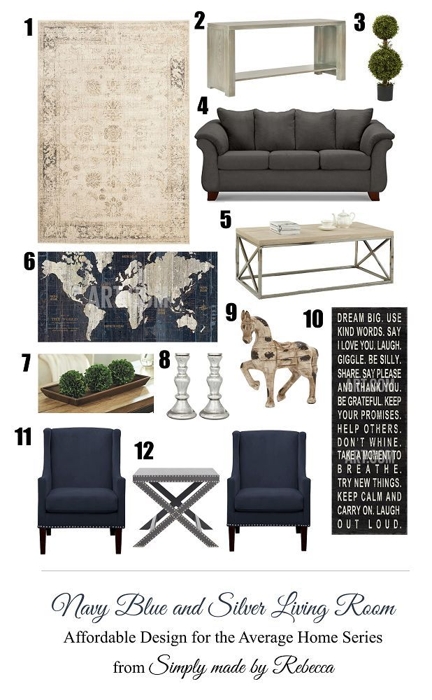 Navy Blue And Silver Living Room Dezdemonhomedecor Top Living Room Inspiration Board Silver Living Room Cheap Living Room Furniture