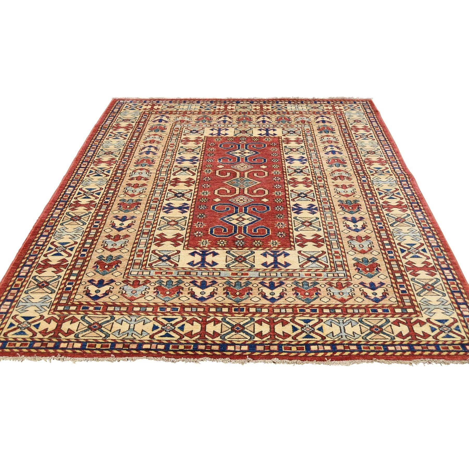 Shahbanu Rugs Hand Knotted Pure Wool Red Super Kazak Tribal Design Rug 5 0 X 6 3 Rugs Area Rugs Cheap Colorful Rugs