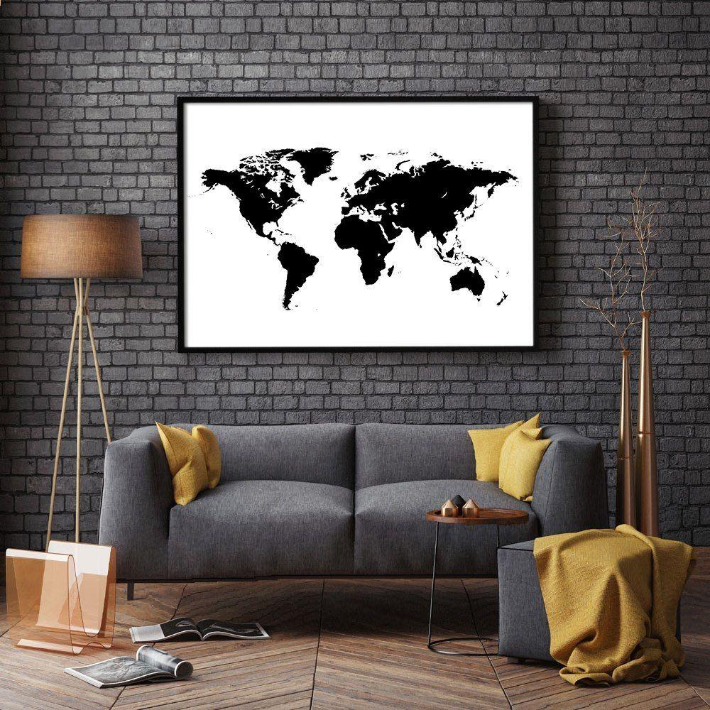 Decoration Nordique Carte Du Monde En Noir Et Blanc Wall Art Toile