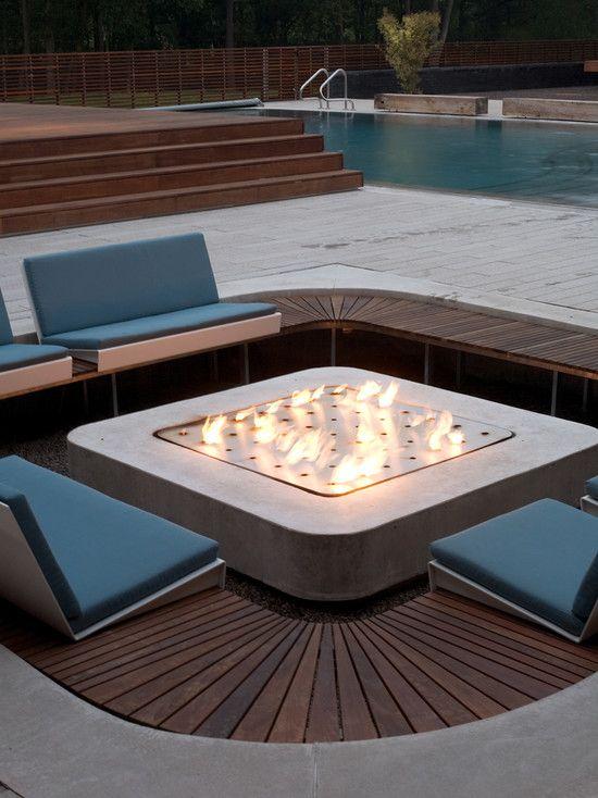 Amazing Modern Gas Fire Pit Design : Amazing Modern Fire Pit Design With Beautiful Bench Design And Lovely Custom Fire Pit Design And With L...