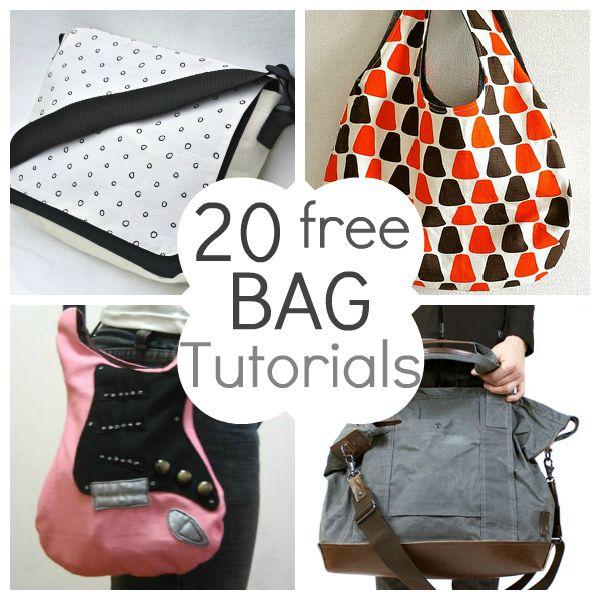 20 tutoriais grátis de bolsas - 20 free bag tutorials. Bacana!