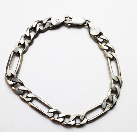 Figaro Link bracelet, 8 inch Statement, Statement Bracelet, Figaro Chain Bracelet, Chunky Chain Bracelet, Heavy Chain Bracelet,Wide Bracelet