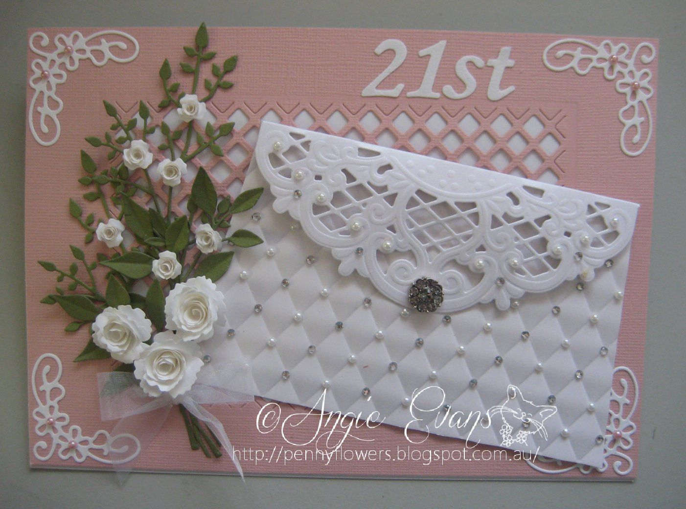 Penny Flowers -- Angie  Hello friends...   Here are a few PURSE cards I've made.  The flap of the purse is made from a Marianne Creatables die, Anja's Vintage Decor...