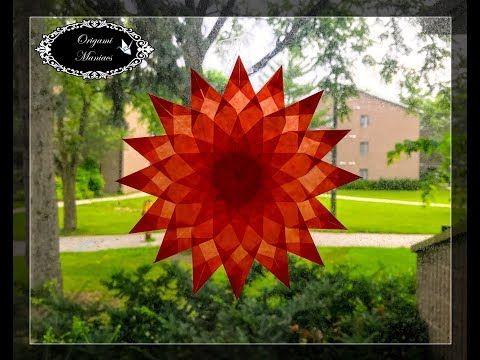 Origami Maniacs 273: Estrellas de Ventana 4: Dalia de 16 Petalos - YouTube