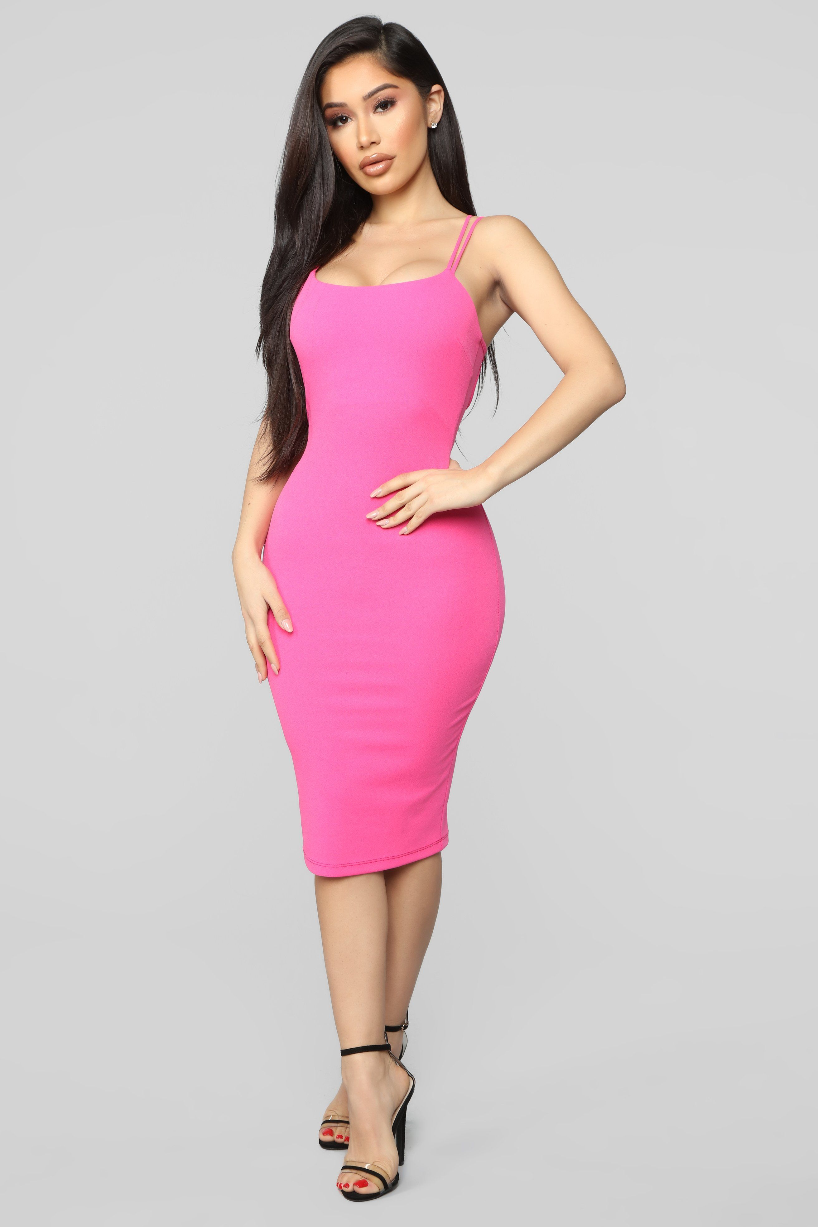 Never Texted Back Midi Dress Hot Pink Dresses, Pink