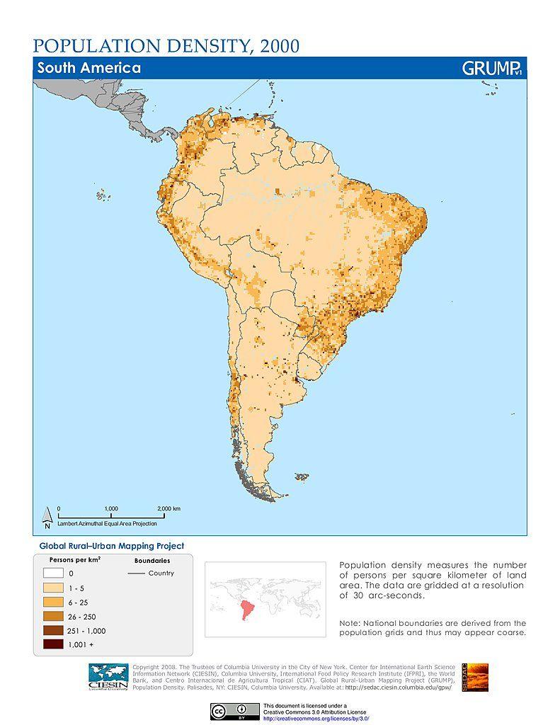 Maps Population Density Grid South America SEDAC
