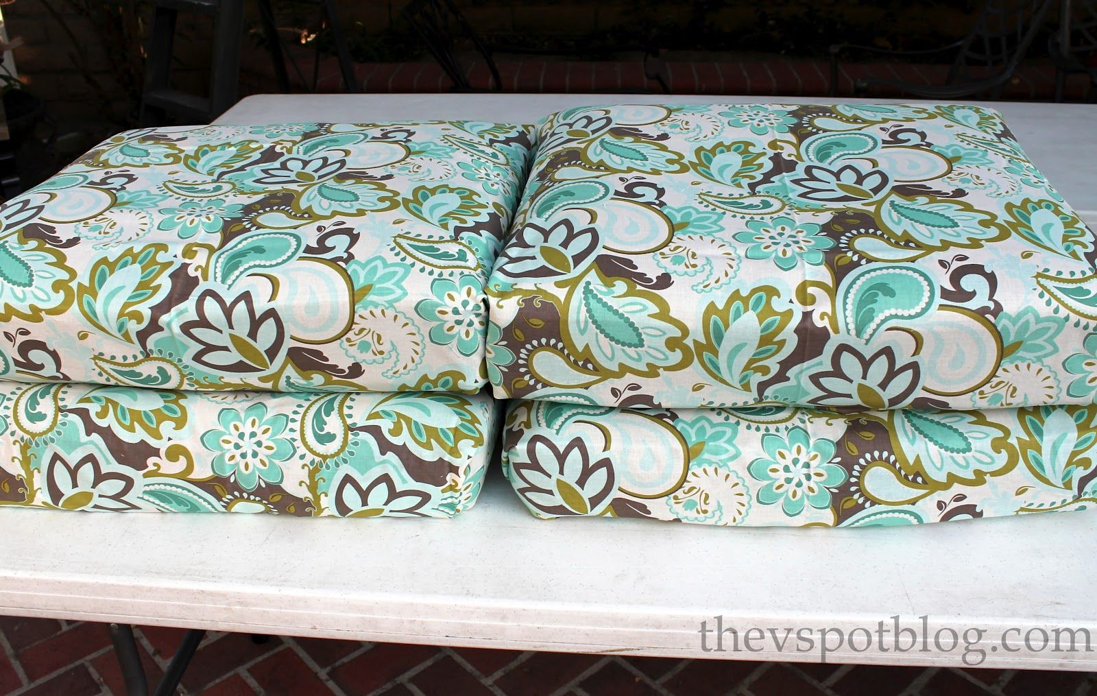 How Much Fabric To Cover A Chair Cushion Walmart Folding Chairs Outdoor No Sew Project Recover Your Cushions Using