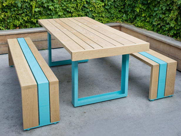 picnic table and bench with a pop of color modern yard pinterest