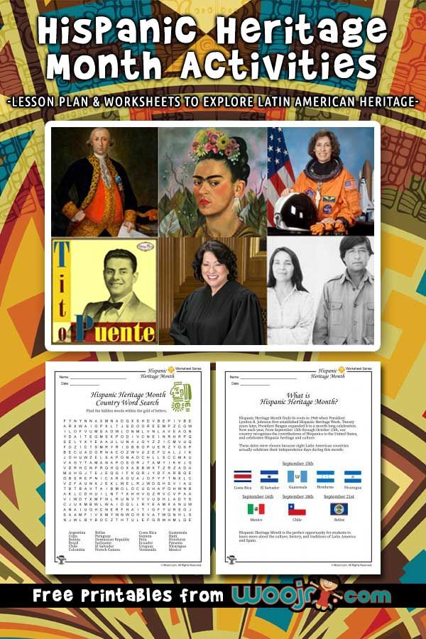 Hispanic Heritage Month activities, lesson plan & worksheets to explore Latin American heritage.
