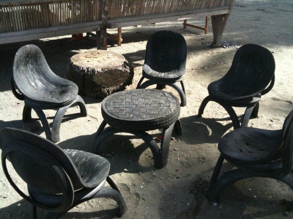 Table and chairs made out of tires project ideas for How to make tire furniture