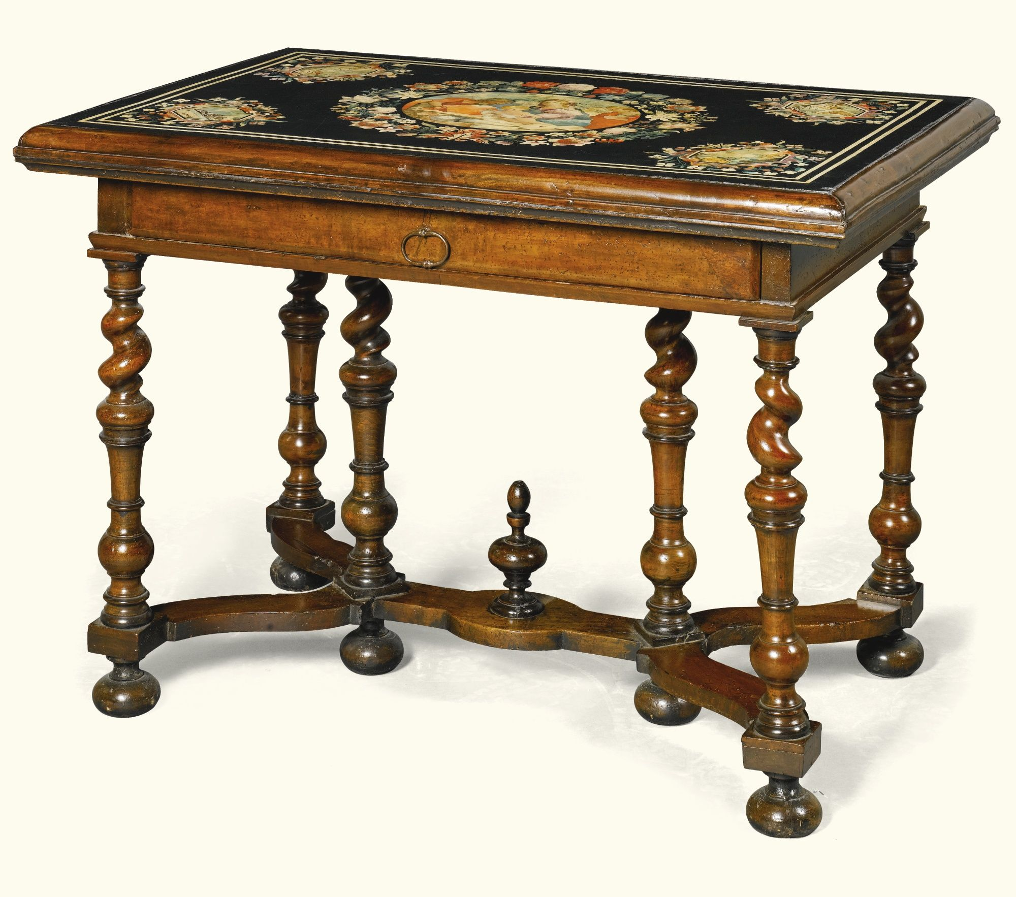 Mid century wheat sheaf coffee table irish antique dealers - An Italian Scagliola Topped Walnut Centre Table 17th Century Lot Sotheby S