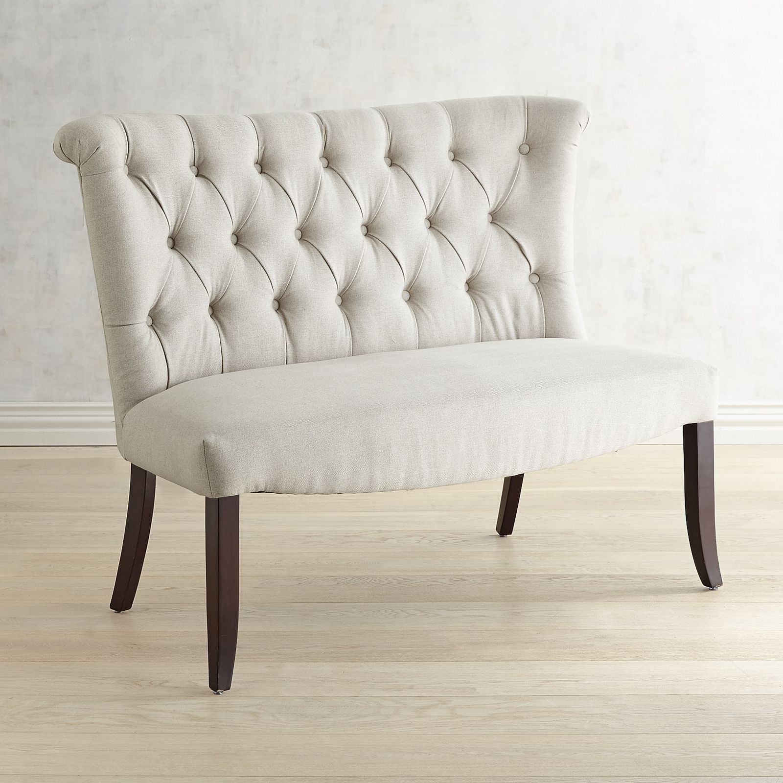 Lovely Colette Flax Banquette Dining Bench With Espresso Wood