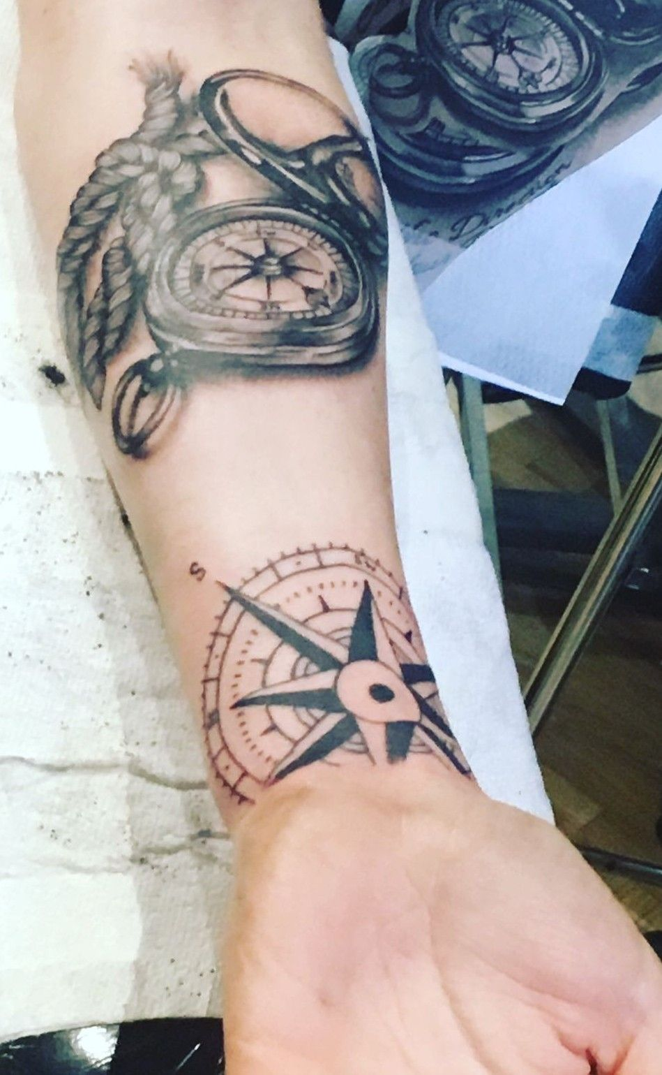 Nautical Half Sleeve Start Compass Tattoo Rope Tattoo To Be Finished With Vintage Map Background And Shading Rope Tattoo Tattoos Compass Tattoo