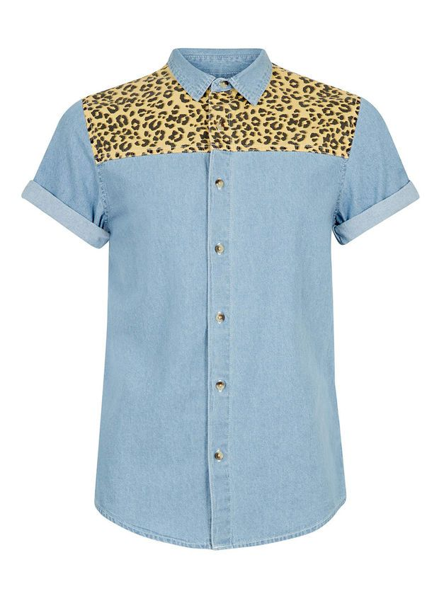 8238d2a2ee16 Blue Leopard Print Yoke Short Sleeve Denim Shirt - Men's Shirts - Clothing  - TOPMAN USA