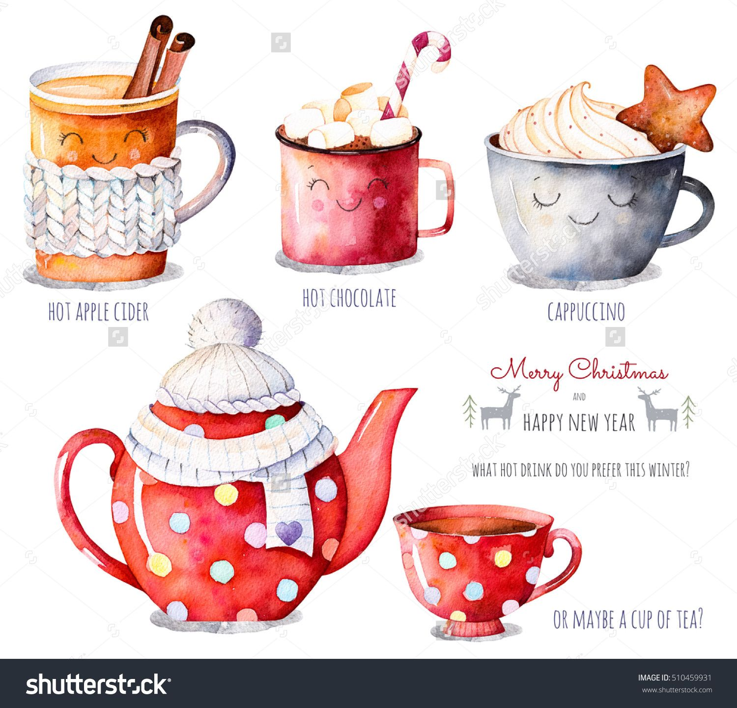 Merry Christmas And Happy New Year Set Watercolor Collection With