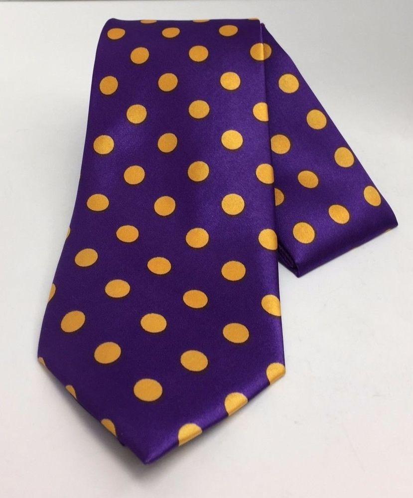 74ccdfe2a7e8 Men's St Patrick Tie & Hanky Set Purple with Gold Polk Dots 100% Microfiber  #StPatrick #Set