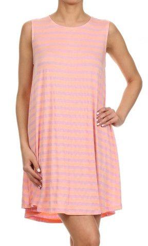 Everly Sleeveless Striped Jersey Trapeze Dress - Lavender/Peach – H.C.B.