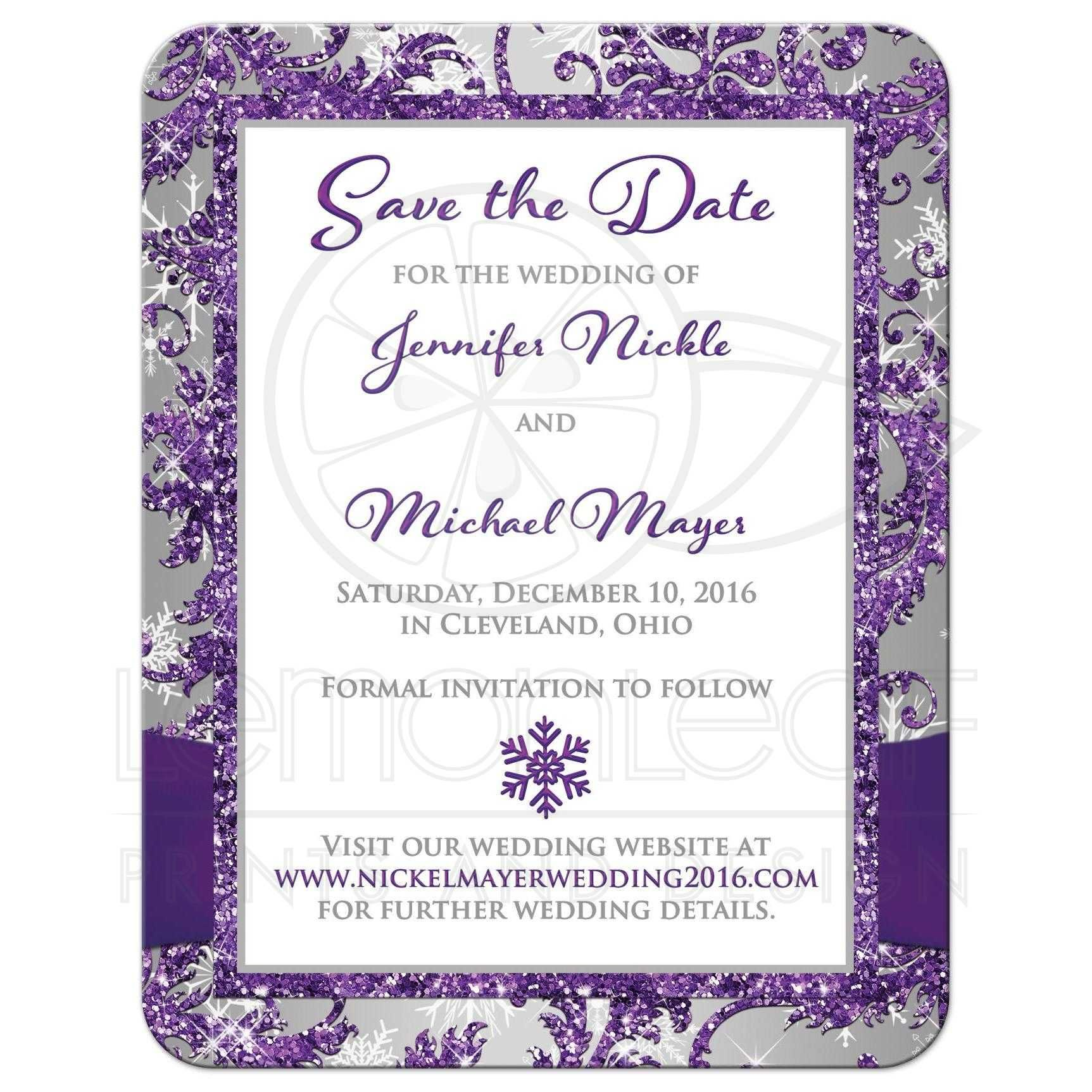 PHOTO Wedding Save the Date Card   Purple, Silver, White Snowflakes ...