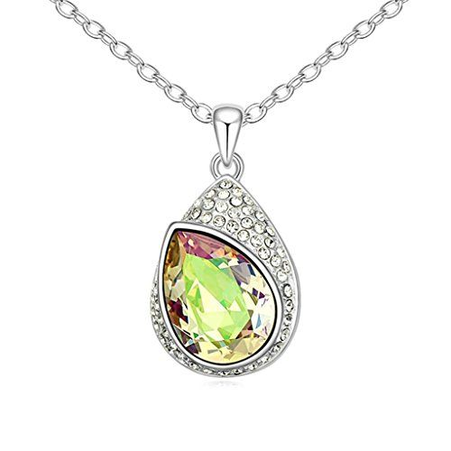 AMDXD Jewelry Sterling Silver Pendant Necklaces for Women Hollow Out Flower Oval Cubic Zirconia Gold