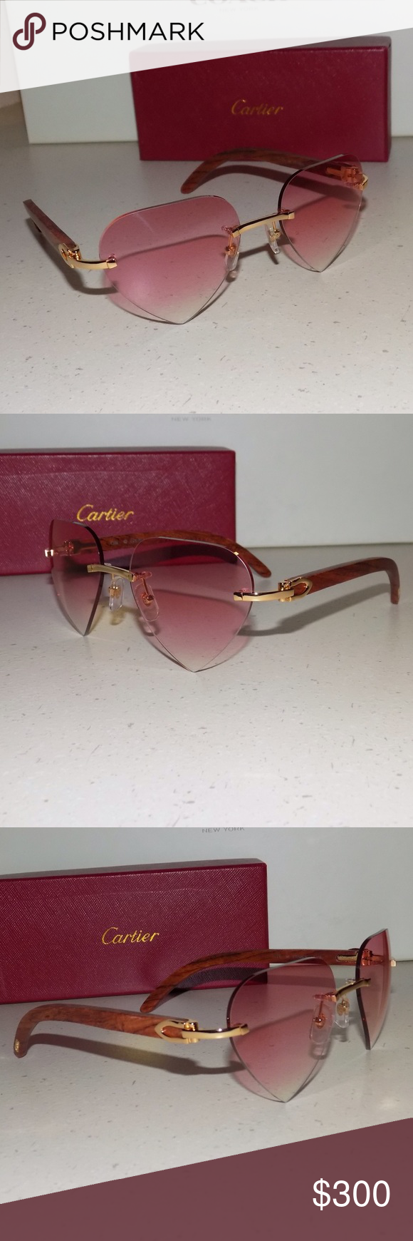 1d2e038f970 Cartier Custom Valentine Pink Heart Lens Size  52 Lenses-18 Bridge-135B  Temples mm USED pair of Cartier display demonstration model Sunglasses with  altered ...
