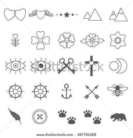 tiny tattoo designs set 2 fonts logos and movie