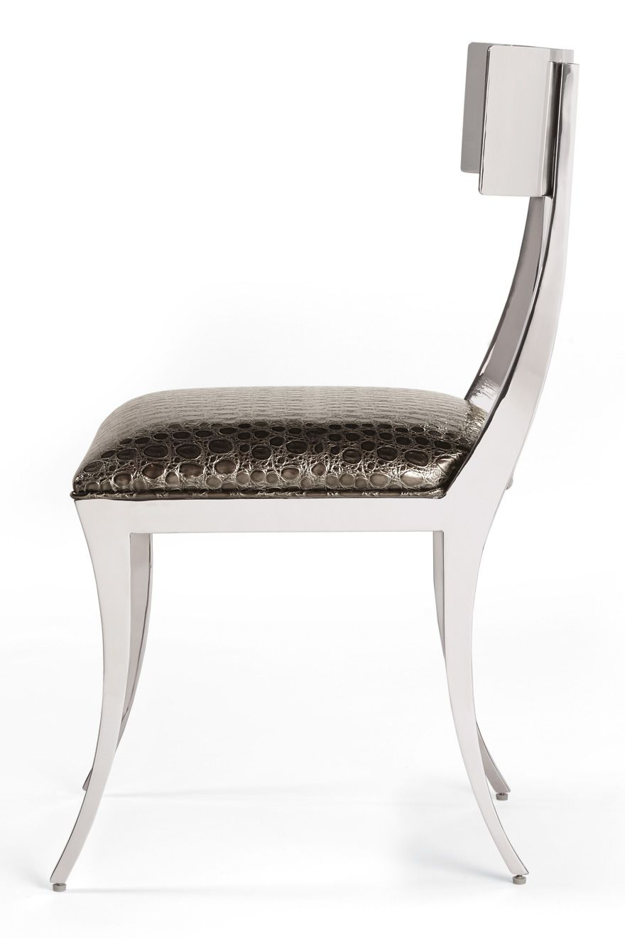 Klismos Chair in polished stainless is sooo beautiful.  Furniture