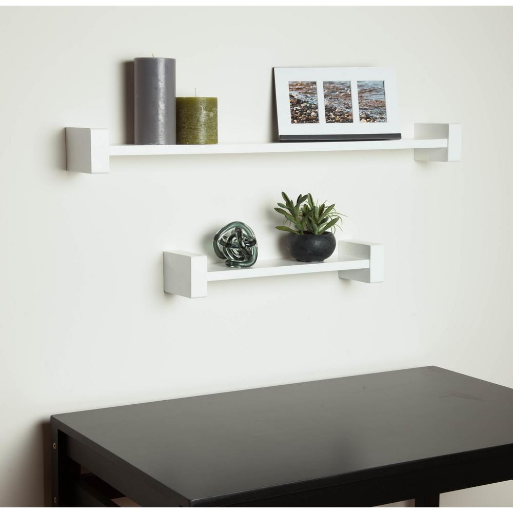 Honey Can Do 29 53 In X 3 94 In H Shape White Wall Shelf