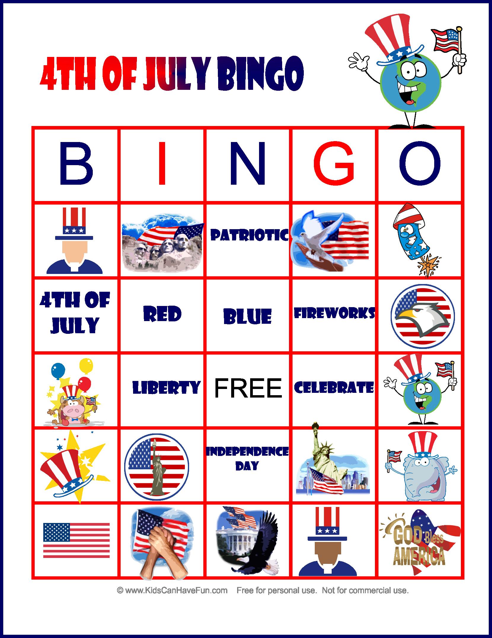 Free Printable 4th Of July Bingo Game 4thofjuly Bingo Kidsactivities