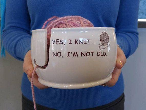 Ready to Ship Ceramic Yarn Bowl | Funny Yarn Bowl | Gift for Knitter | Yes I knit No I am not old handmade in my Charleston, SC studio #crochetformoney