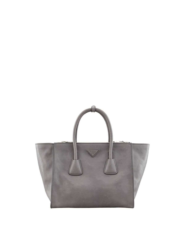 45e444312cb7d1 Glace Calf Large Twin Pocket Tote Bag, Gray (Marmo), Women's - Prada ...