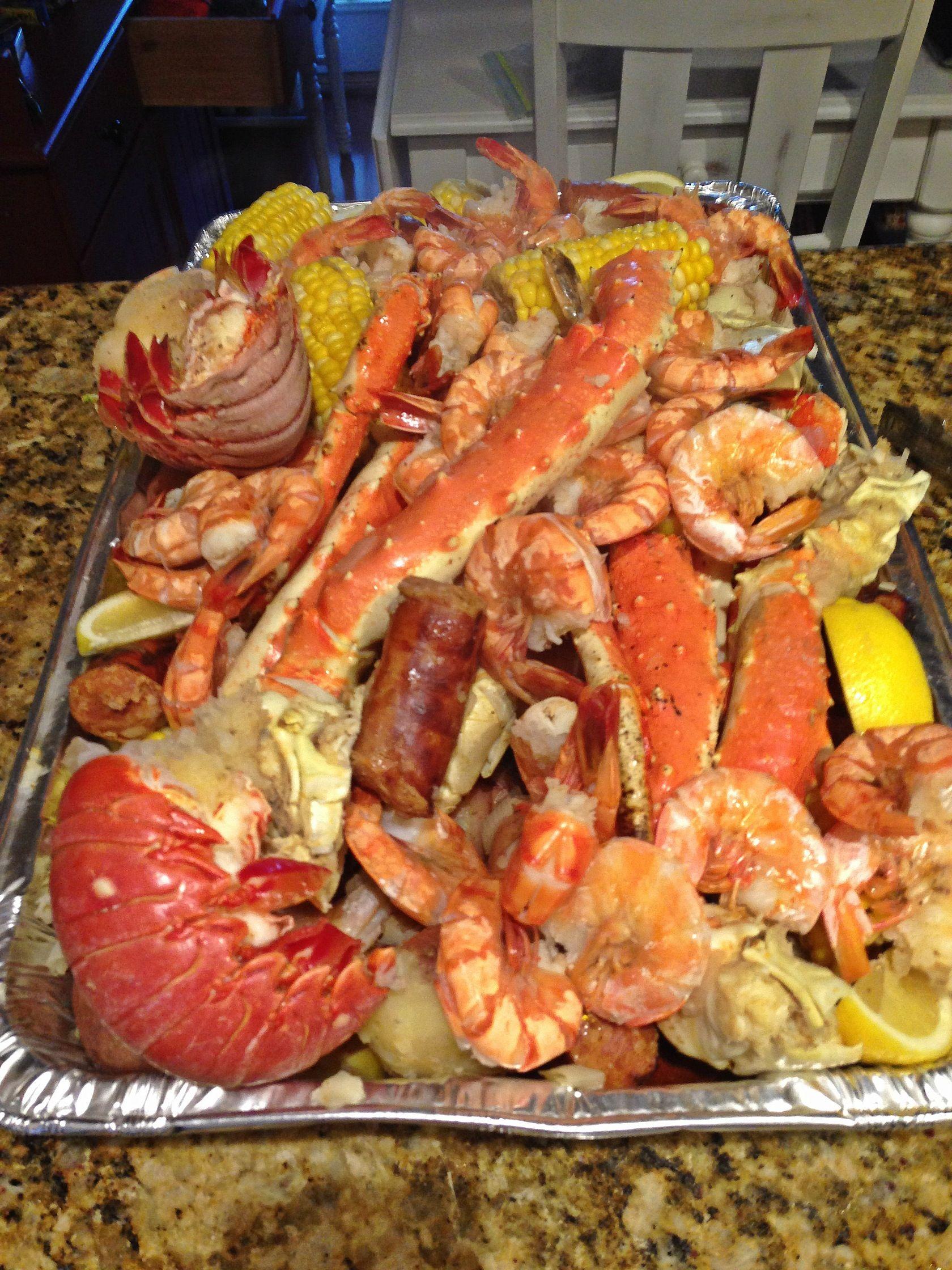 crab shrimp and lobster boil after pic shrimp boil pinterest