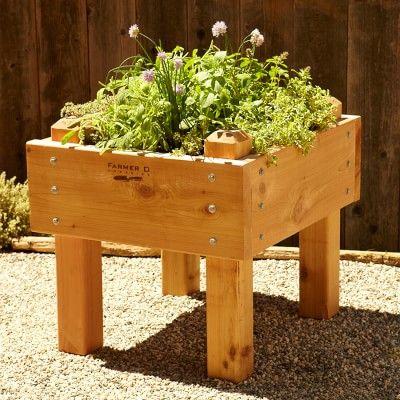 Farmer D Cedar Bed-on-Legs Kit, 2' x 2' | Raised garden ...