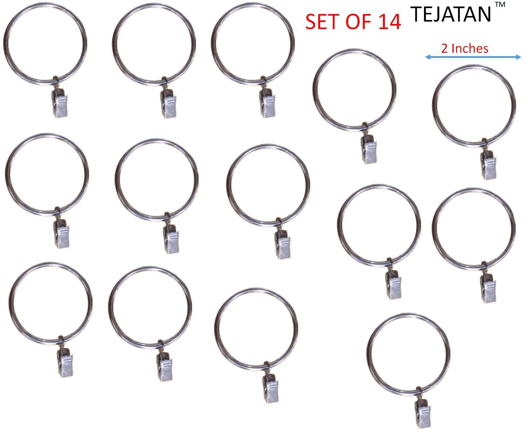 2 Inch Metal Curtain Rings With Clips And Eyelets Silver Set Of