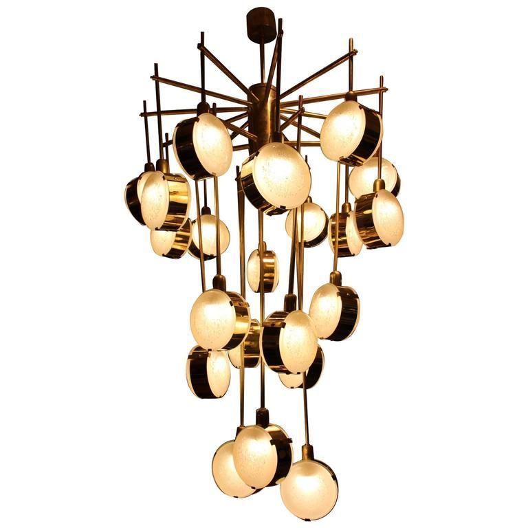 Italian Mid Century Modern Brass And Glass Long Chandelier