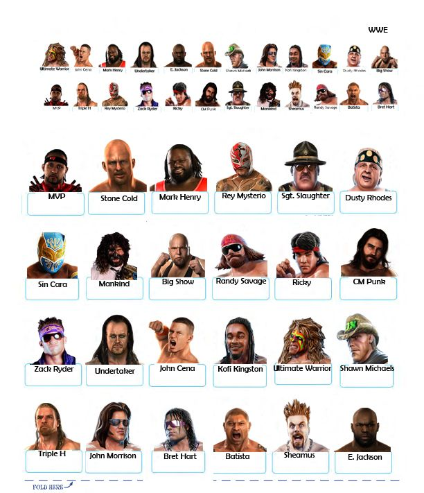 guess who hasbro character sheets to print Google Search WWE
