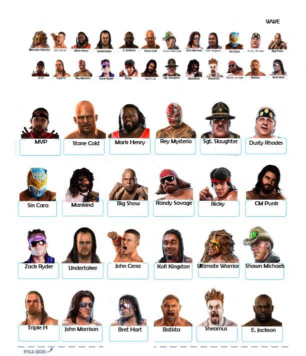 guess who hasbro character sheets to print Google Search WWE