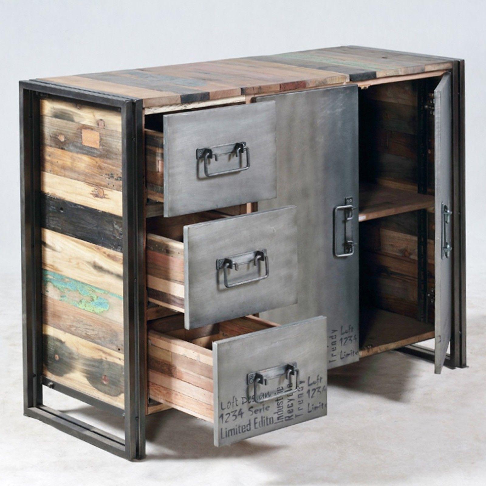 Meubles Loft Industriels Buffet 2 Portes 3 Tiroirs Edition  # Meuble Industriel Bois Bateau