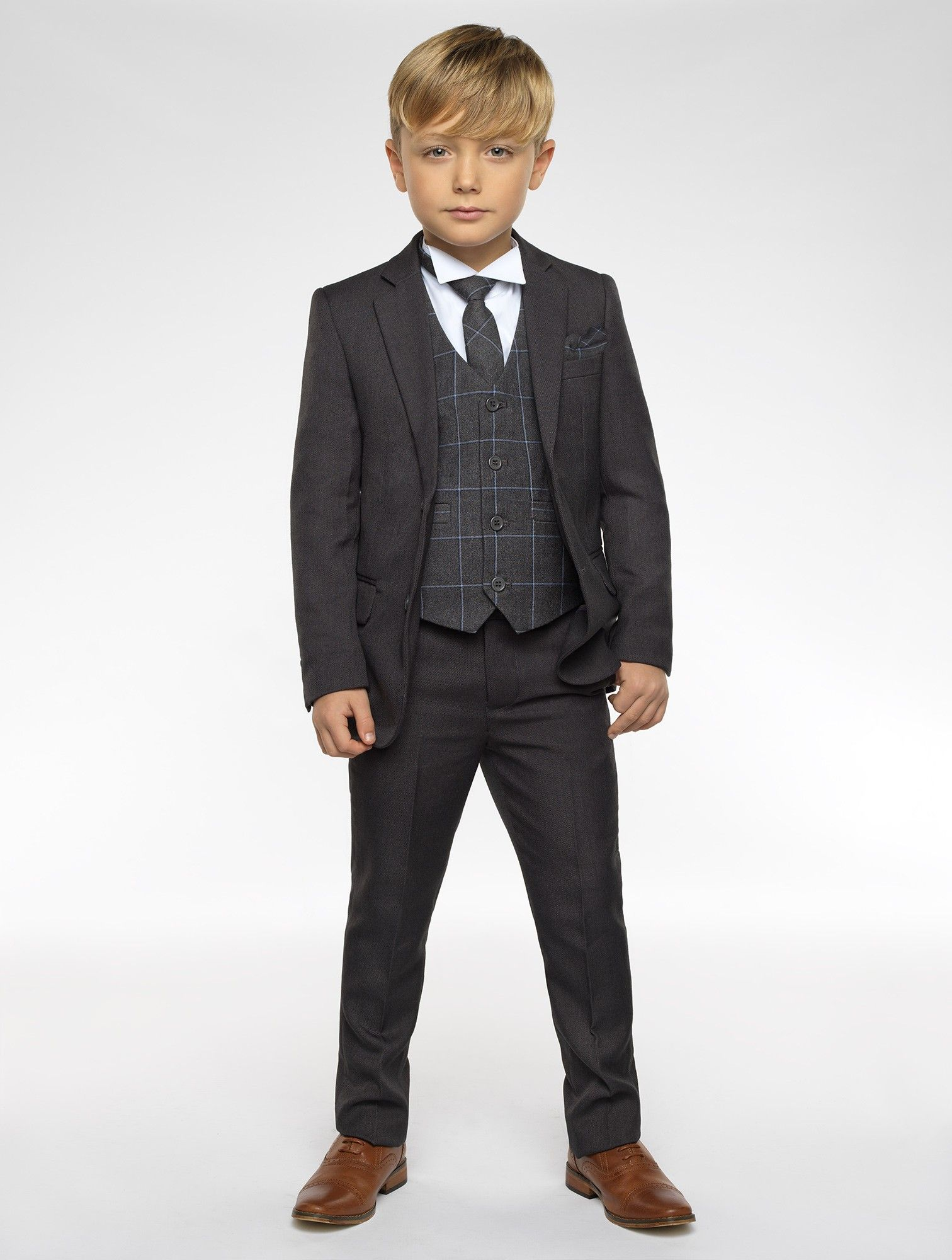 Boys Charcoal Grey Slim Fit 6 Piece Suit Kids Prom Wedding Pageboy Suits 1 to 15